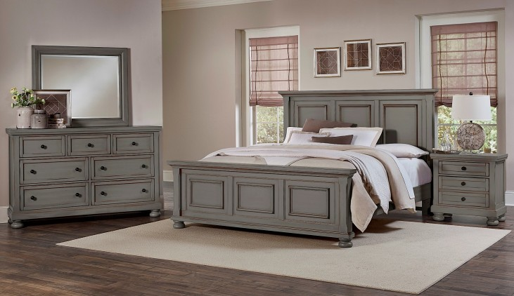 Reflections Antique Pewter Mansion Bedroom Set