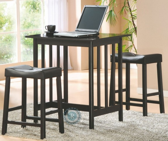 Scottsdale Black 3-Piece Pack Counter Height Set