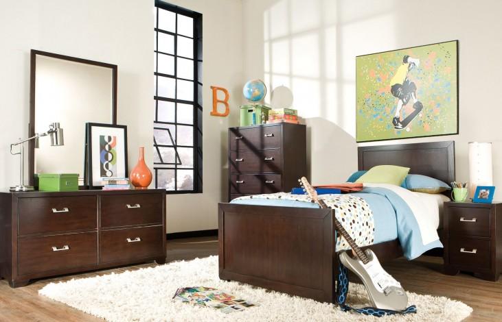 Smart Solutions Merlot 5 Piece Twin Panel Storage Bedroom Set