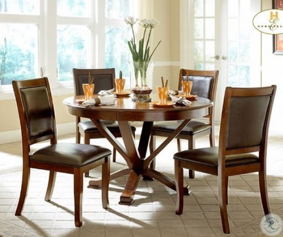 Outstanding Transitional Dining Room Suitable For Any Home: Helena Round Dining Room Set From Homelegance (5327-48