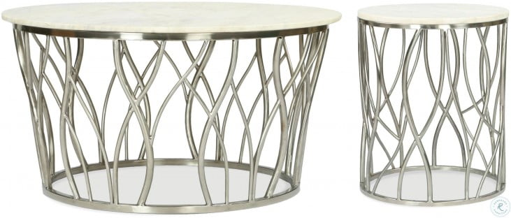 Ulysses Polished Steel Round Cocktail Table
