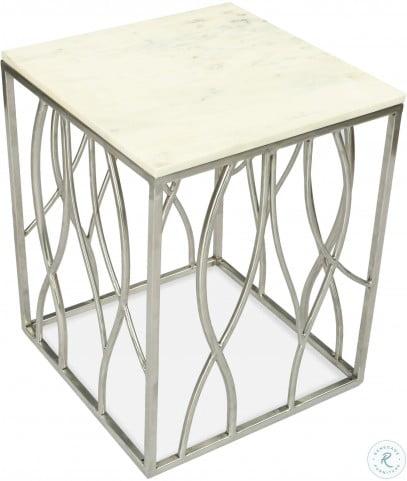 Ulysses Polished Steel Square End Table