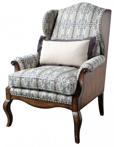 Empyrean Sky Exposed Wood Wing Chair