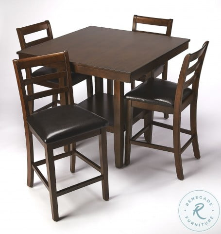 Plato Dark Brown Pub Table Set