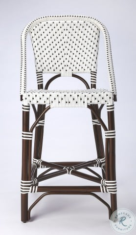 Solstice White And Chocolate Rattan Counter Height Stool
