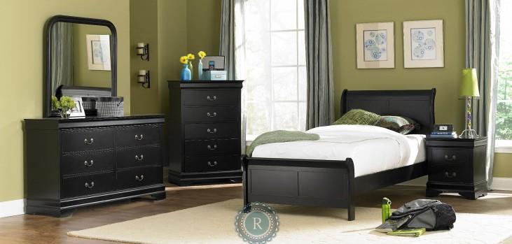 Marianne Black Youth Sleigh Bedroom Set