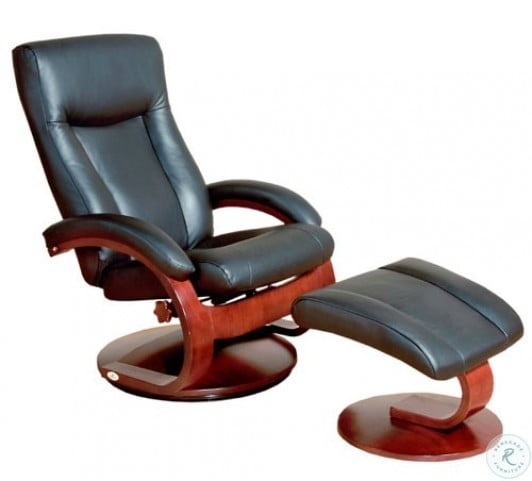 Astonishing Oslo Black Top Grain Leather Swivel Recliner With Ottoman Pdpeps Interior Chair Design Pdpepsorg