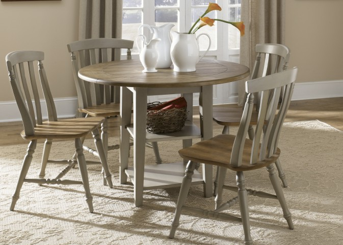 Al Fresco Driftwood and Taupe Drop Leaf Leg Dining Room Set