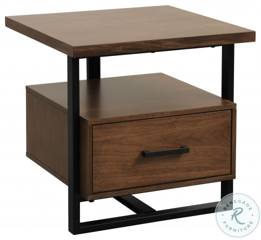 Sedley Walnut and Rustic Black End Table