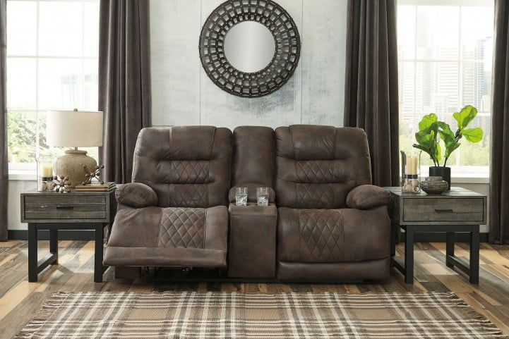 Cool Welsford Walnut Power Reclining Console Loveseat With Adjustable Headrest Forskolin Free Trial Chair Design Images Forskolin Free Trialorg