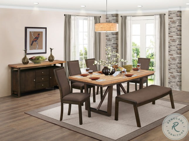 Compson Natural and Walnut Rectangular Extendable Dining Room Set