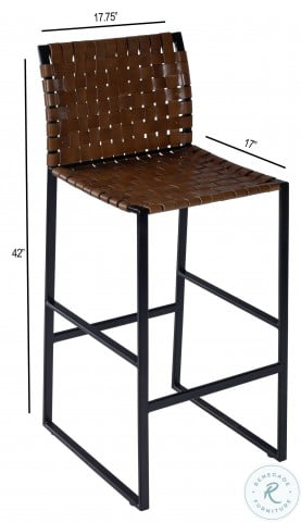 Urban Brown Woven Leather Bar Stool