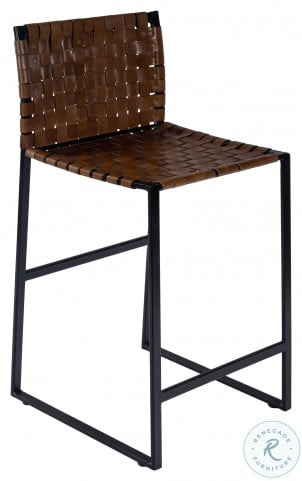 Urban Brown Woven Leather Counter Height Stool