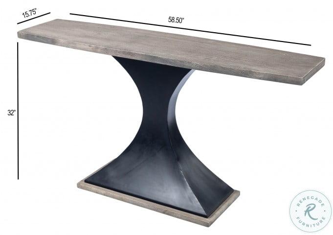 Lidiya Gray Sandwash Wood And Metal Console Table