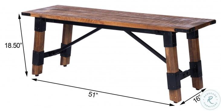 Masterson Natural Wood And Metal Bench