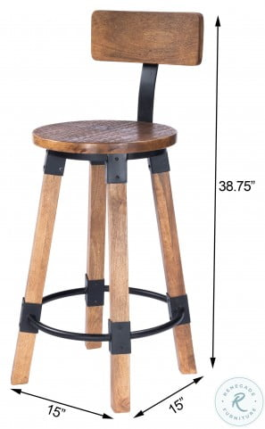Masterson Natural Wood And Metal Counter Height Stool