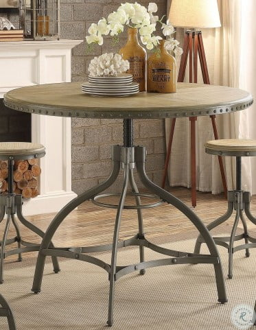 Beacher Weathered Natural And Gunmetal Round Adjustable Height Dining Table