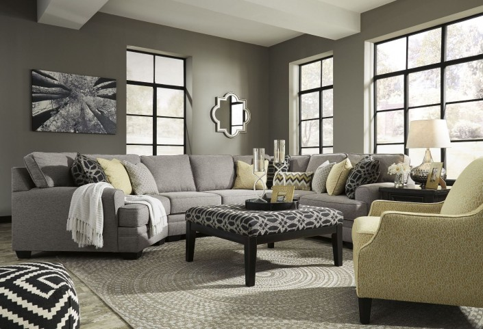 Cresson Pewter LAF Cuddler Sectional