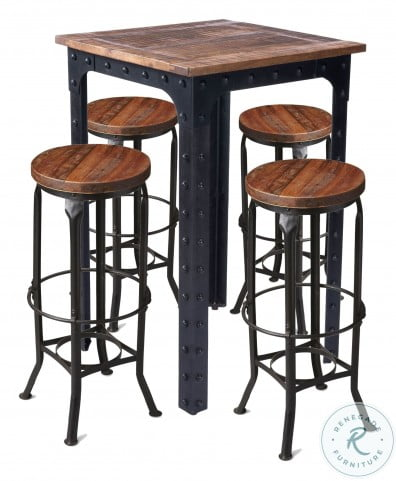 River Natural Wood and Metal Pub Table Set