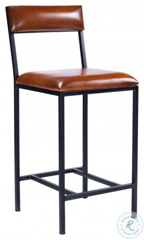 Lazarus Brown Leather And Metal Counter Height Stool