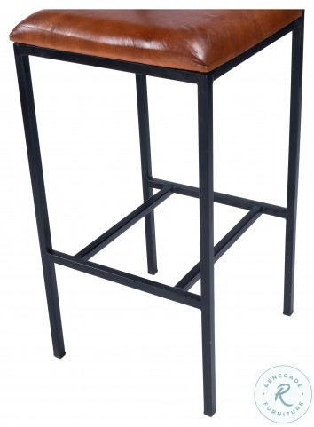 Lazarus Brown Leather And Metal Bar Stool