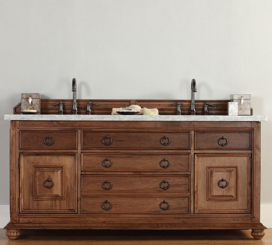 "Mykonos 72"" Cinnamon Double Vanity With 4Cm Carerra White Marble Top"