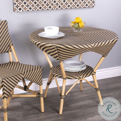 Ciel Beige And Black Diamond Rattan Dining Table