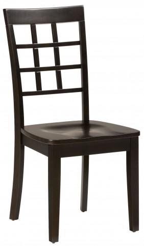 Simplicity Espresso Grid Back Chair Set of 2