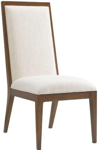 Island Fusion Natori Off  White Fabric Slat Back Side Chair