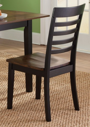 Cafe Black and Cherry Slat Back Side Chair Set of 2