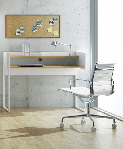 Oslo White with Oak Home Office Desk