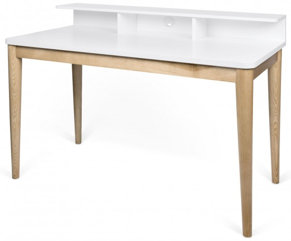 Xira Pure White and Oak Desk