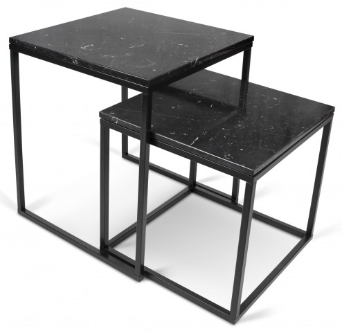 Prairie Black Marble Top Lacquered Steel Nesting Tables