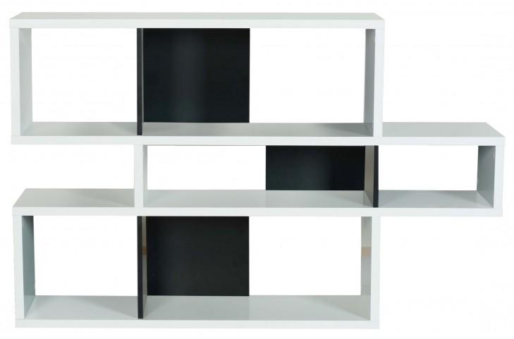 London Pure WhiteFrame With Pure Black Backs 6 Shelf Bookcase