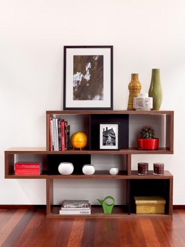 London Walnut Frame With Pure Black Backs 6 Shelf Bookcase