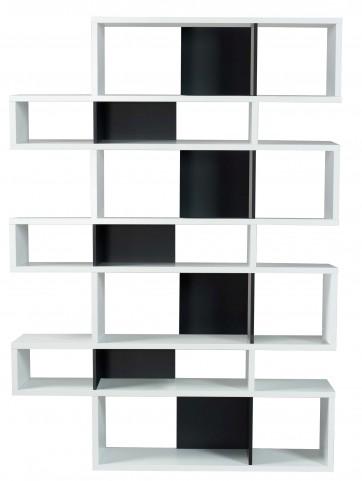 London Pure White Frame with Pure Black Backs 14 Shelf Bookcase