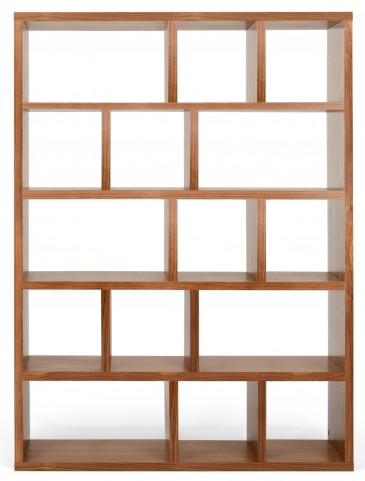 Berlin Walnut 59 Inch 5 Shelf Bookcase