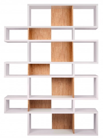 London Pure White Frame with Cork Backs 14 Shelf Bookcase