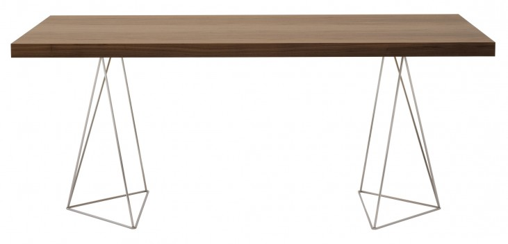 "Multi Walnut 63"" Trestle Dining / Work Table with Metal Trestles"