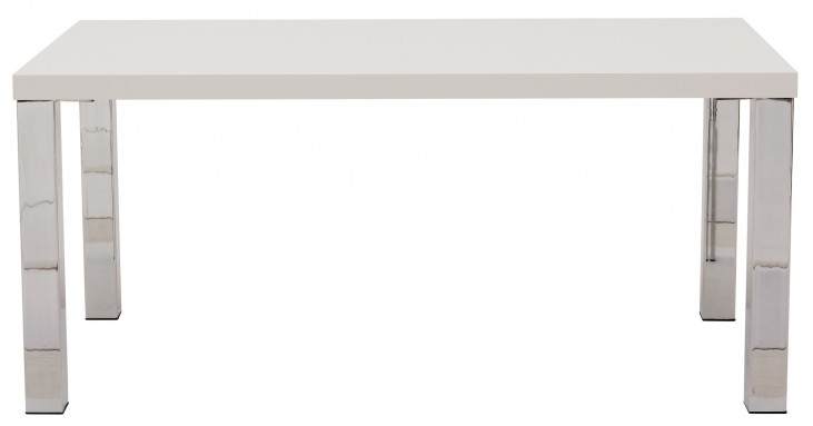 """Multi White 71"""" Table Top with Square Chrome Legs"""