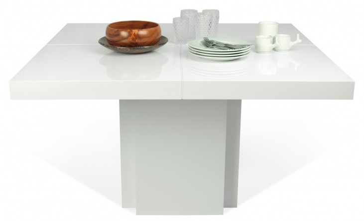 "Dusk High Gloss White 59"" Dining Table"