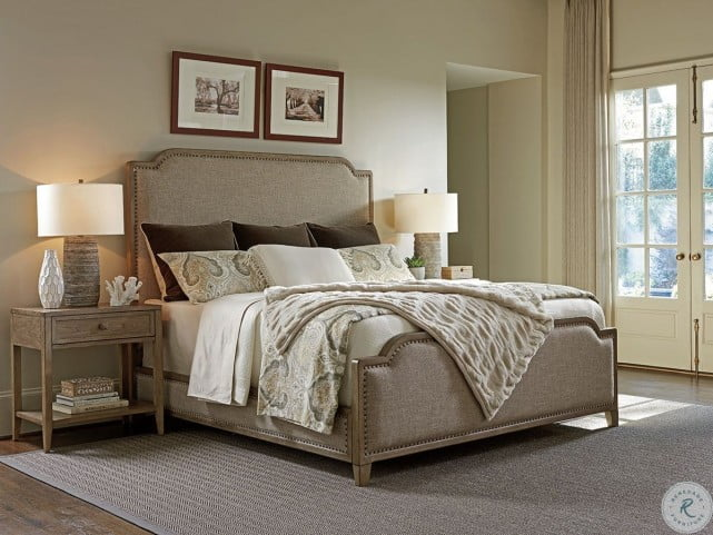 Cypress Point Weathered Driftwood Stone Harbour Upholstered Panel Bedroom  Set
