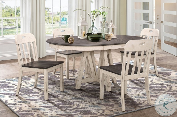 Clover Antique White And Gray Extendable Round Dining Room Set