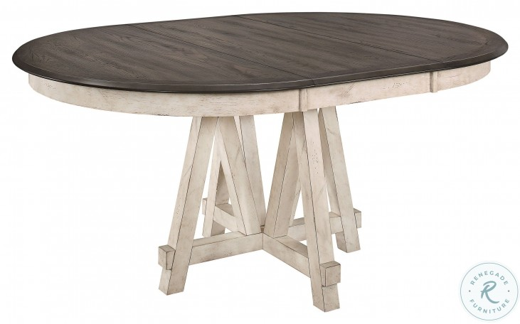 Clover Antique White And Gray Extendable Round Dining Table