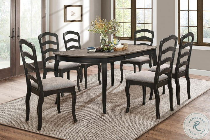 Coring Antiqued Gray And Natural Dining Room Set