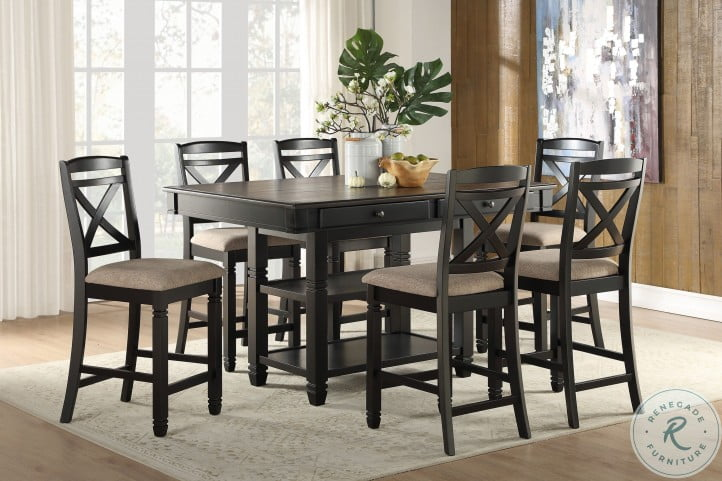 Baywater Natural And Black Counter Height Dining Room Set