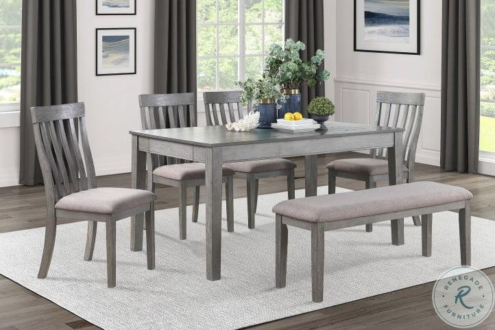 Armhurst Wire Brush Dark Gray And Light Gray Dining Room Set