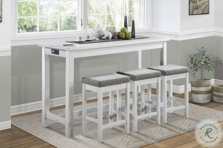 Connected White 4 Piece Pack Counter Height Set