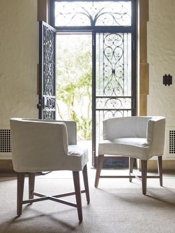 Authenticity Khaki Slip Covered Barrel Chair Set of 2