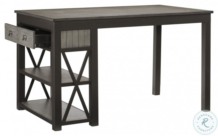 Elias Gray And Gunmetal Counter Height Dining Table